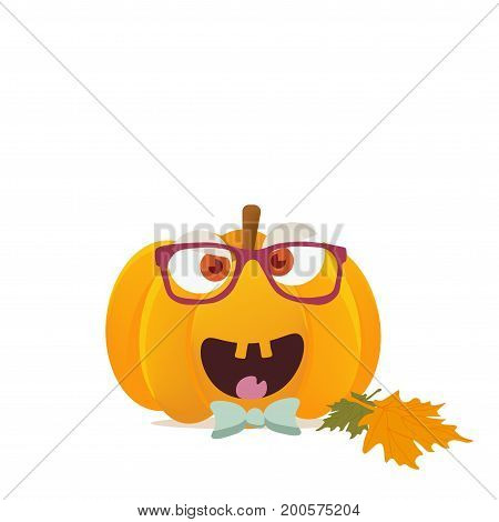 Vector illustration:halloween boyish pumpkin head isolated. Funny halloween pumpkin or squash character face. Great also as Harvest Festival or Fest mascot.