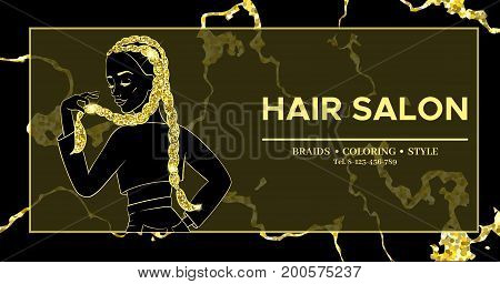 Hairdresser or hair salon banner, beauty studio poster, girl with braided hairstyle, african or boxer braids, trendy hairstyle design, template for  flyer, marble gold background