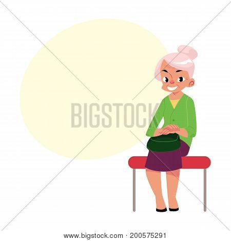 Elegant grey haired woman, old lady sitting in subway, bus, cartoon vector illustration with space for text. Full length portrait of old lady, woman in subway, bus sitting with hands on knees
