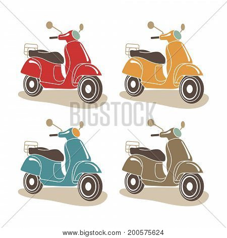 Scooter motorbike retro icons. Italian style. Vector Illustration