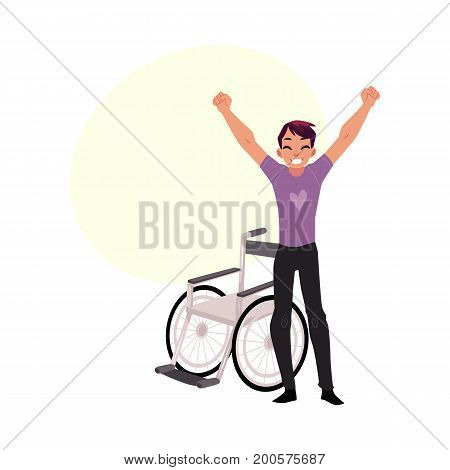 Young man sitting in wheelchair, raising hands in happiness, rehabilitation concept, cartoon vector illustration with bubble speech. Happy smiling young man in wheelchair