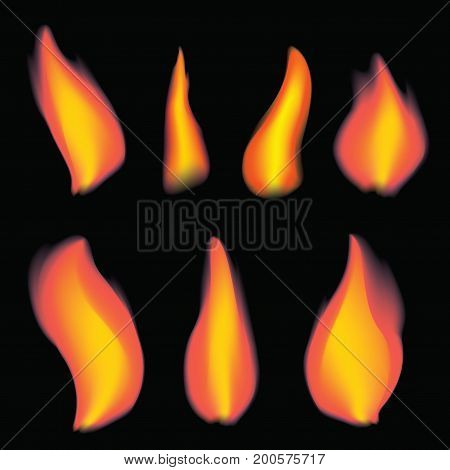 A set of flame from a candle. A collection of realistic bonfires. Vector set of flame. Art.