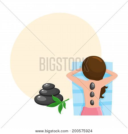 Young woman getting hot stone massage in spa salon, top view cartoon vector illustration with space for text. Top view picture of woman getting hot stone massage in spa salon