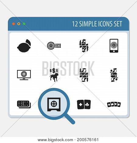 Set Of 12 Editable Game Icons. Includes Symbols Such As Royal, Strongbox, Fortune And More