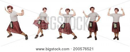 Funny scotsman isolated on white