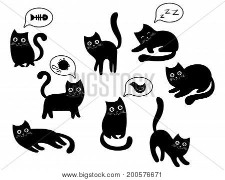 A set of black cats. A collection of cartoon cats for Halloween. Lovely playing black kittens. Vector illustration of pet pets.