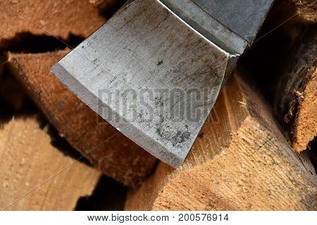 Blade of ax on wood. Lumberjack wood