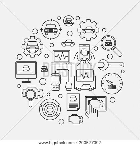 Car diagnostic round illustration. Vector automotive diagnostics circular symbol