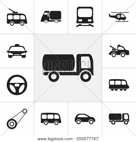 Set Of 12 Editable Transport Icons. Includes Symbols Such As Auto, Truck, Tour Bus And More