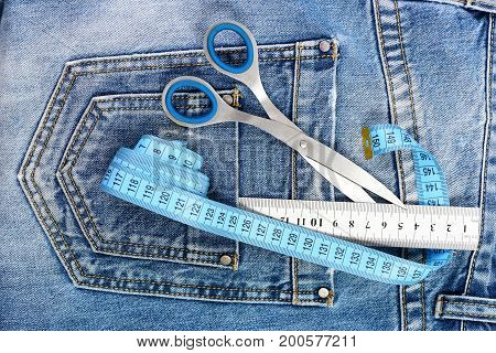 Things For Making Clothes On Jeans Pocket, Top View