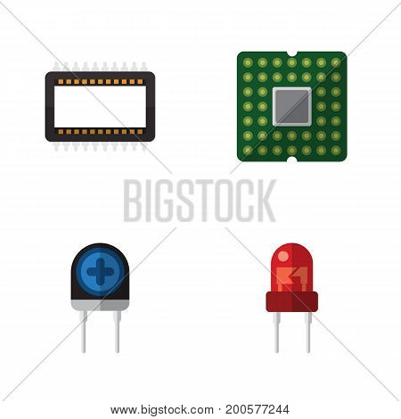 Flat Icon Appliance Set Of Mainframe, Unit, Transducer And Other Vector Objects