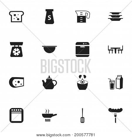 Set Of 16 Editable Restaurant Icons. Includes Symbols Such As Baguette, Salt, Dining Table And More