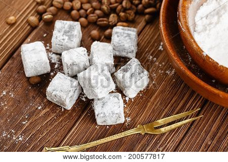 Homemade Turkish Delight With Powdered Sugar