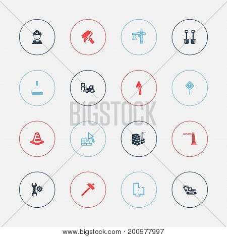 Set Of 16 Editable Construction Icons. Includes Symbols Such As Blueprint, Hammer, Notice Object And More