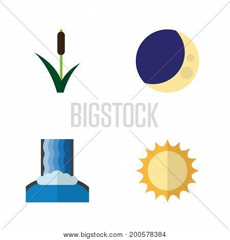 Flat Icon Ecology Set Of Cattail, Cascade, Half Moon And Other Vector Objects