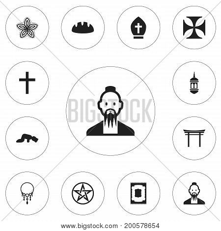 Set Of 12 Editable Religion Icons. Includes Symbols Such As Shinto, Baguette, Minaret And More