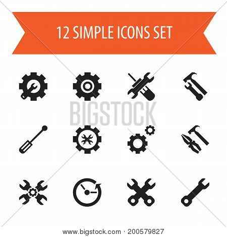 Set Of 12 Editable Service Icons. Includes Symbols Such As Spanner, Utility, Pliers Hammer And More