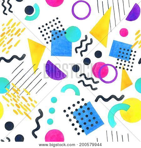 Memphis seamless pattern of geometric shapes for tissue and postcards. Hipster poster 80's-90's styles juicy bright color background of different shapes color style watercolor illustration