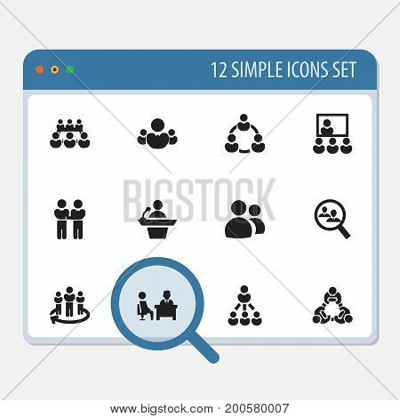 Set Of 12 Editable Cooperation Icons. Includes Symbols Such As Cooperation, Leadership, Publicity And More