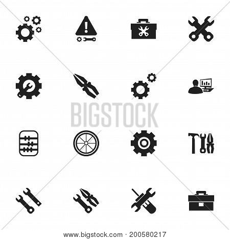 Set Of 16 Editable Mechanic Icons. Includes Symbols Such As Tyre, Fixing Equipment, Computer Statistics And More