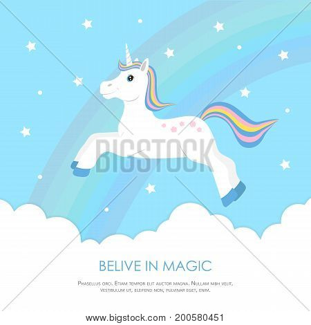 Cute unicorn jumping in the clouds on the background of rainbow and stars. Concept design sweet dreams child. Template for greeting card, invitation, banner. Vector illustration.