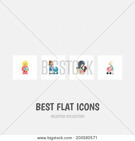 Flat Icon Mam Set Of Mother, Newborn Baby, Perambulator And Other Vector Objects