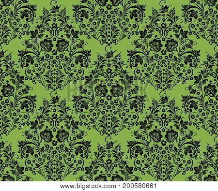 Black khokhloma flowers on greenery seamless pattern background, .