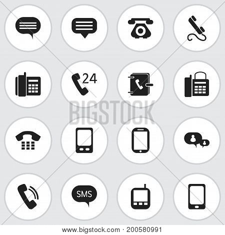 Set Of 16 Editable Device Icons. Includes Symbols Such As Mobile, Smartphone, Telecommunication And More