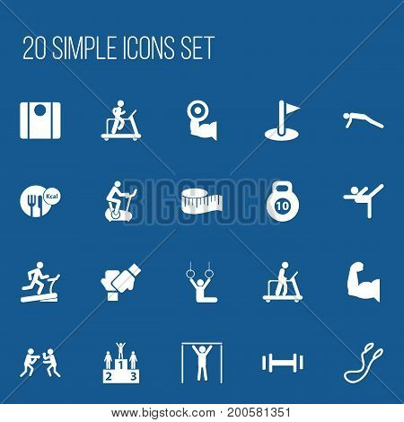 Set Of 20 Editable Fitness Icons. Includes Symbols Such As Training Bicycle, Jogging, Healthy Food And More