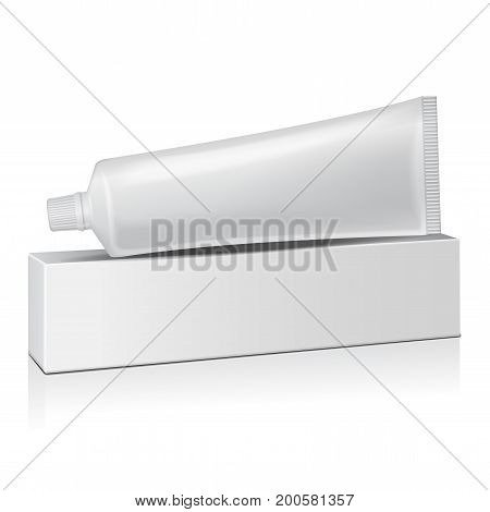 Vector plastic tube with white box for medicine or cosmetics - toothpaste, cream, gel, skin care. Packaging mockup template for your design