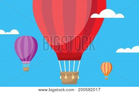 Hot air balloon in the clouds vector illustration