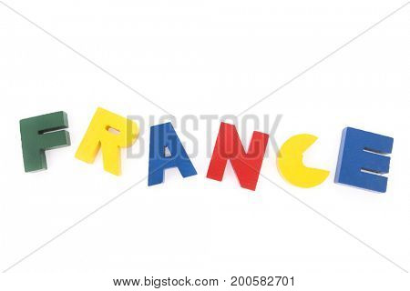 France in colorful vintage letters isolated over white background