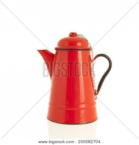 Red vintage email coffee pot isolated over white background