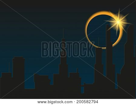 Total eclipse of the sun in the city. Vector illustration