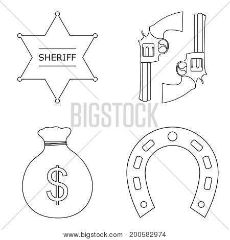 Wild west realistic icons set with money, guns, star sheriff and horseshoe, isolated vector illustration.