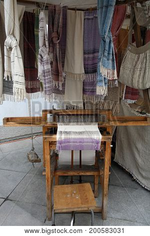 Handicraft products woven with old methods on looms. Regional Market in Cesky Krumlov