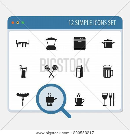 Set Of 12 Editable Kitchen Icons. Includes Symbols Such As Coffee, Stove, Hot Dog And More