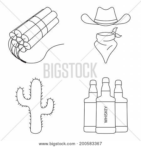 Wild west realistic icons set with dynamite, whiskey, cowboy hat and cuctus, isolated vector illustration.