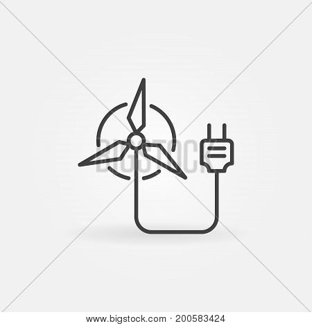 Wind energy concept sign - vector minimal windmill icon or design element