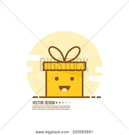 Bright color gift box. Trendy vector icon giftbox with ribbons and sparkly. Emotional gift box, smiling and happy. Emoji.