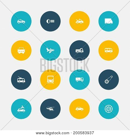 Set Of 16 Editable Shipment Icons. Includes Symbols Such As Auto, Wheel, Airplane And More