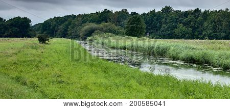 Extensively Used Meadows Beneath The Stream Ryck Near Heilgeisthof, Mecklenburg-vorpommern, Germany
