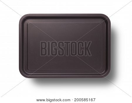 Empty baking tray for pizza close up isolated on white top view square. Tray with shadow Mock up for design