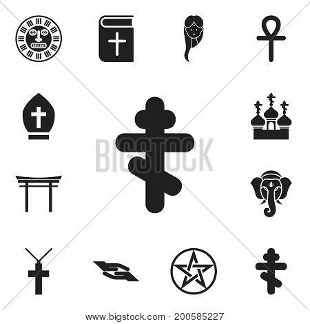 Set Of 12 Editable Dyne Icons. Includes Symbols Such As Shinto, Egyptian Cross, Female And More