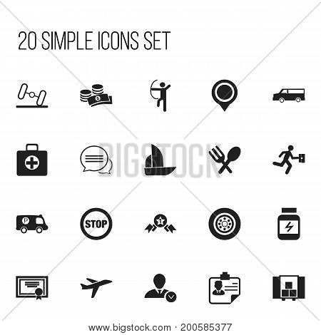 Set Of 20 Editable Complicated Icons. Includes Symbols Such As Achievement, Tire, Stop And More