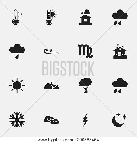 Set Of 16 Editable Weather Icons. Includes Symbols Such As Warm, Frostbite, Shelter And More