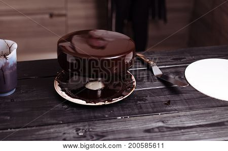 Cake Covered In Chocolate. Mirror Glaze