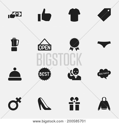 Set Of 16 Editable Business Icons. Includes Symbols Such As Headgear, Trunks, Pullover And More