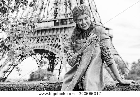 Happy Elegant Woman Having Walking Tour In Paris, France