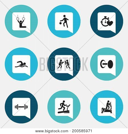 Set Of 9 Editable Training Icons. Includes Symbols Such As Racetrack Training, Health Time, Instruction Male And More